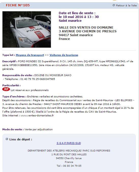 Photos de voitures de police page 2400 auto titre - Www ventes domaniales fr ...