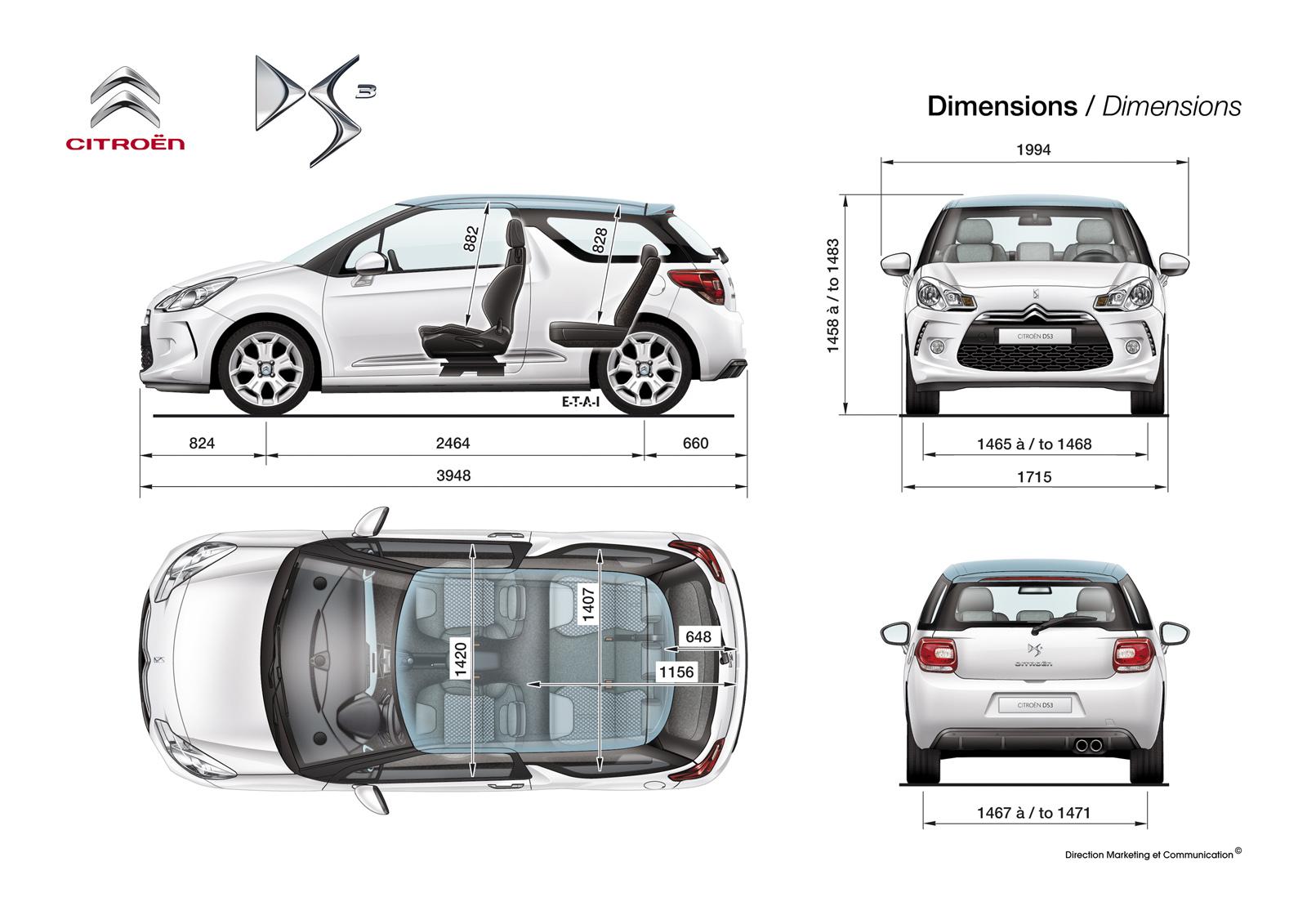 ds 3 dimensions hors tout avec retroviseurs auto titre. Black Bedroom Furniture Sets. Home Design Ideas
