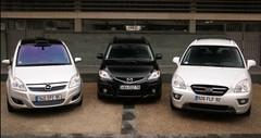 Essai Mazda 5 restylé, Opel Zafira relifté, Kia Carens : le bal des outsiders