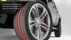 Un pneu qui change de couleur lorsqu'il s'use