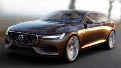 Un nouveau break Volvo V90 derrière le Concept Estate de Genève