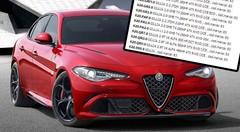 Alfa Romeo Giulia : la liste des motorisations en fuite sur Internet