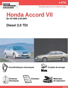 Revue Technique Honda Accord VI diesel