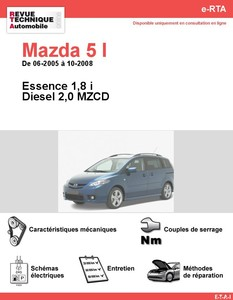 fiche technique mazda 5 2 0 mzr cd 110 fap auto titre. Black Bedroom Furniture Sets. Home Design Ideas