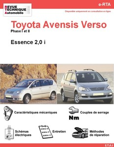 Revue Technique Toyota Avensis Verso essence