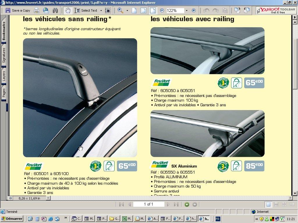 barres de toit feu vert pour megane auto titre