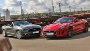 Essai cabriolet Ford Mustang V8 GT vs Jaguar F-Type V6 S : Symphonies opposées