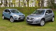 Essai Ford Kuga 2.0 TDCi 136 ch vs Volkswagen Tiguan 2.0 TDI 140 ch : Les aventuriers du bitume