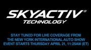 Ce jeudi, à 17h15, suivez en direct la présentation de la technologie Mazda SKYACTIV