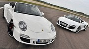 Essai Audi R8 Spyder V8 vs Porsche 911 Carrera GTS Cabriolet : Bolides en liberté !
