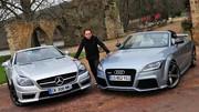 Essai Audi TT RS Plus Roadster 360 ch vs Mercedes SLK 55 AMG 421 ch : Pour célibataires fortunés