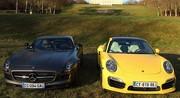 Essai Mercedes SLS AMG GT vs. Porsche 911 Turbo S