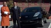 la Nissan Leaf appuie sur le Bhoutan