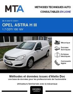 MTA Opel Astra H Fourgon 3 portes phase 2