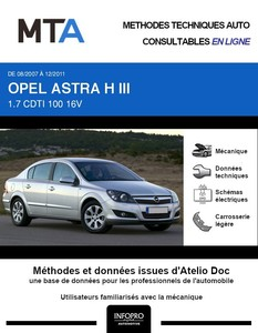 MTA Opel Astra H berline phase 2