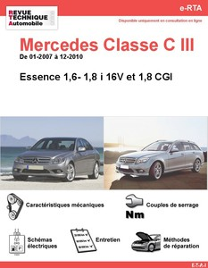Revue Technique Mercedes Classe C W204 essence