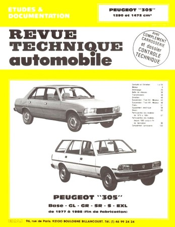 Revue Technique Peugeot 305 phase 2 essence