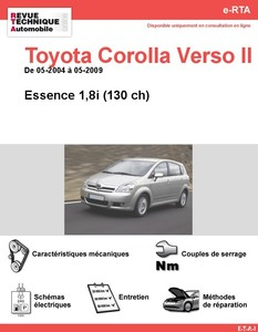 Revue Technique Toyota Corolla Verso II essence
